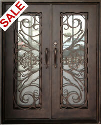 619 Double Entry Wrought Iron Door with Vent Glass  61 12
