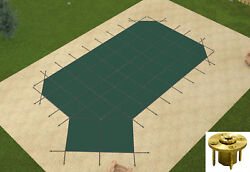 Gli Grecian Mesh Swimming Pool Safety Cover W/ Left Offset Step And Wood Anchors