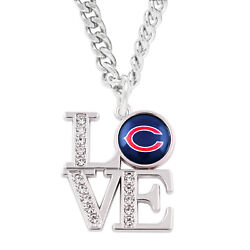 Chicago Bears Love Charm Simulated Diamond Pendant Chain Necklace Womens Jewelry