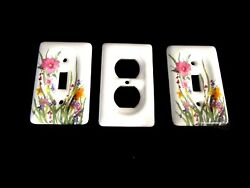 Leviton Porcelain Double Outlet & Single Switch Light Plate Cover Set of 3