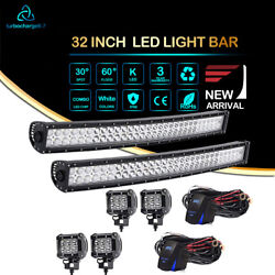 32 Inch 180W Curved Dual-Row Led Work Light Bar Combo For Driving SUV TRUCK Ford