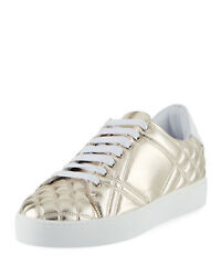 Westford Quilted Metallic Leather Low-top Sneaker Gold Sz 40.5 450.00