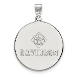 Davidson College Wildcats School Name Disc Pendant In 14k And 10k White Gold