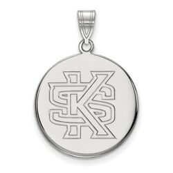 Kennesaw State Owls School Letters Logo Disc Pendant In 14k And 10k White Gold