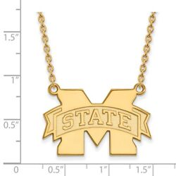 Mississippi State Bulldogs School Letter Logo Pendant Necklace In Yellow Gold