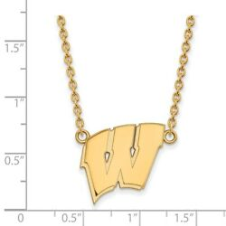 Wisconsin Badgers School Letter Logo Pendant Necklace In 14k And 10k Yellow Gold