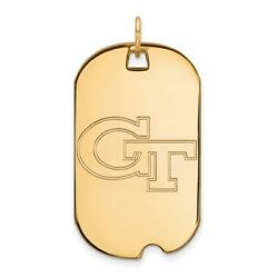 Georgia Tech Yellow Jackets School Letters Logo Dog Tag Pendant In Yellow Gold