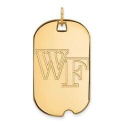 Wake Forest Demon Deacons School Letters Logo Dog Tag Pendant In 14k Yellow Gold