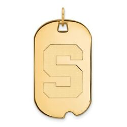 Michigan State Spartans School Letter Logo Dog Tag Pendant 14k And 10k Yellow Gold