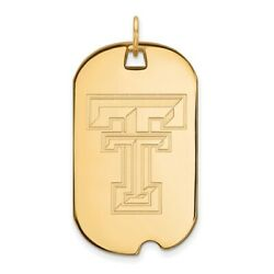 Texas Tech Red Raiders School Letters Logo Dog Tag Pendant 14k And 10k Yellow Gold