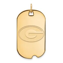 Georgia Bulldogs School Letter Logo Dog Tag Pendant In 14k And 10k Yellow Gold