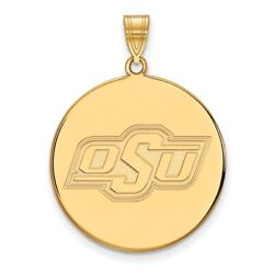 Oklahoma State Cowboys Osu School Letters Logo Disc Pendant In 14k Yellow Gold