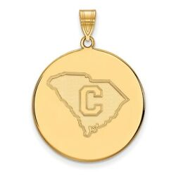 The Citadel Bulldogs School Letter Logo Disc Pendant In 14k And 10k Yellow Gold