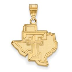 Texas Tech University Red Raiders Logo On State Shaped Pendant In Yellow Gold