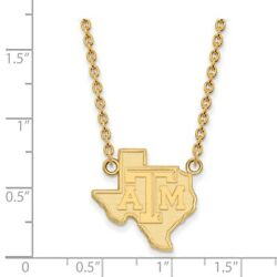 Texas Aandm Aggies School Letters On State Pendant Necklace In 14k Yellow Gold