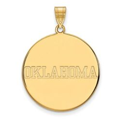 University Of Oklahoma Sooners School Name Disc Pendant In 14k And 10k Yellow Gold