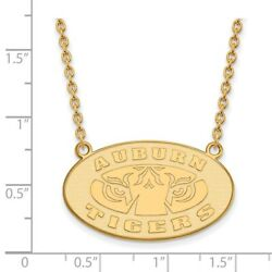 Auburn University Tigers Oval Pendant Necklace In 14k And 10k Yellow Gold