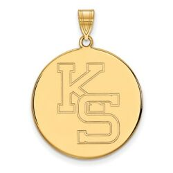 Kansas State Wildcats School Letters Logo Disc Pendant In 14k And 10k Yellow Gold