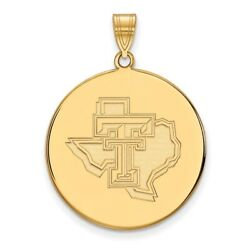 Texas Tech Red Raiders School Letters On State Disc Pendant In 14k Yellow Gold