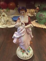 Set Of Two Occupied Japan Victorian Figurines - Lady And Man With Mandolin