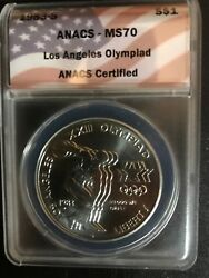 1983-s Olympics Discus Thrower 1 Anacs Ms70 Silver Dollar - Incredibly Rare