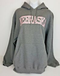 Nebraska Cornhuskers Gray w Pink Stitched Lettering Hoodie Sweatshirt NCAA NWT