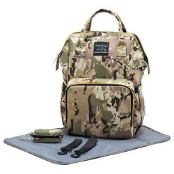 Big Camo Diaper Bag for Baby GirlsBoys - Nappy Backpack w Changing Pad Straps