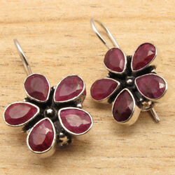 Indian Simulated Ruby Flower Earrings 925 Silver Plated Bulk Wholesale Lot Pack
