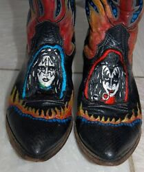Vintage Rare One Of A Kind Hand Painted Kiss Embroidered Faces Cowboy Boots 8.5