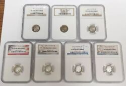 Lot Of 7 Graded Roosevelt Dimes Ngc Pf70 Cameo