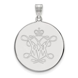 College Of William And Mary Tribe School Logo Disc Pendant 14k And 10k White Gold