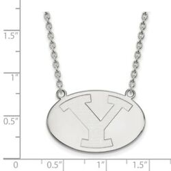 Brigham Young Cougars School Letter Logo Pendant Necklace In 14k White Gold