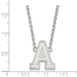 Us West Point Army Black Knights School Letter Pendant Necklace In White Gold