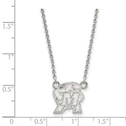 University Of Maryland Terrapins Mascot Pendant Necklace In 14k White Gold