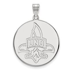 New Orleans Privateers School Letters Logo Disc Pendant In 14k And 10k White Gold