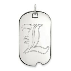 Louisville Cardinals School Letter Logo Dog Tag Pendant In 14k And 10k White Gold