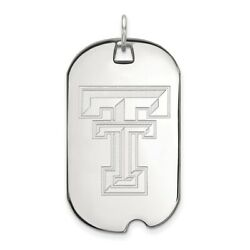 Texas Tech Red Raiders School Letters Logo Dog Tag Pendant 14k And 10k White Gold