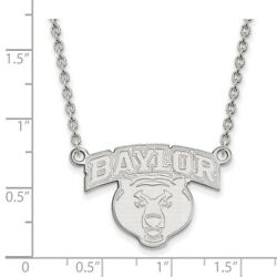 Baylor University Bears School Name Pendant Necklace In 14k And 10k White Gold