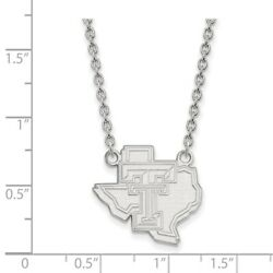 Texas Tech Red Raiders School Letters On State Pendant Necklace In White Gold