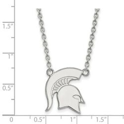 Michigan State University Spartans Mascot Pendant Necklace In 14k White Gold