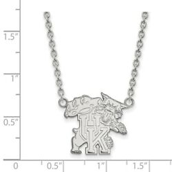 University Of Kentucky Wildcats Mascot Pendant Necklace In 14k And 10k White Gold