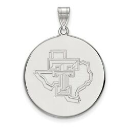 Texas Tech Red Raiders School Letters On State Disc Pendant In 14k White Gold