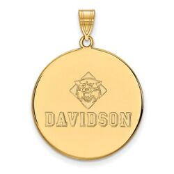 Davidson College Wildcats School Name Disc Pendant In 14k And 10k Yellow Gold