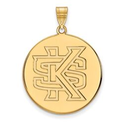 Kennesaw State Owls School Letters Logo Disc Pendant In 14k And 10k Yellow Gold
