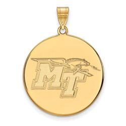 Middle Tennessee State Blue Raiders School Letters Disc Pendant In Yellow Gold