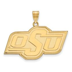 Oklahoma State University Cowboys Osu School Letters Pendant In 14k Yellow Gold