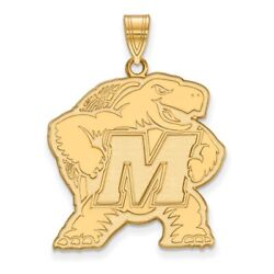 University Of Maryland Terrapins School Mascot Pendant In 14k And 10k Yellow Gold
