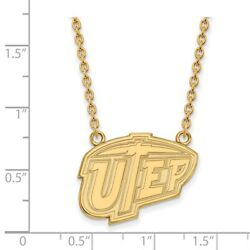 University Texas El Paso Miners School Letters Pendant Necklace In Yellow Gold