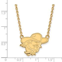 Eastern Kentucky University Colonels Mascot Pendant Necklace In 14k Yellow Gold