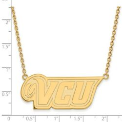 Virginia Commonwealth Rams School Letters Logo Pendant Necklace In Yellow Gold